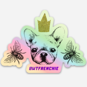 Frenchie Bee Holographic Sticker